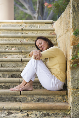 http://www.dreamstime.com/stock-photo-mature-woman-relaxed-closed-eyes-outdoor-portrait-beautiful-sitting-wide-limestone-steps-park-looking-happy-daydreaming-image30536820