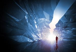 http://www.dreamstime.com/stock-image-man-walks-fantasy-crystal-corridor-image26898831